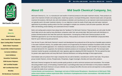 Screenshot of About Page midsouthchemical.com - Mid South Chemical | About Us | Industrial Water Treatment - captured Nov. 28, 2016
