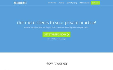 Screenshot of Home Page medinar.net - Get more Loyal Clients to your Private Practice over the internet - captured Sept. 30, 2014