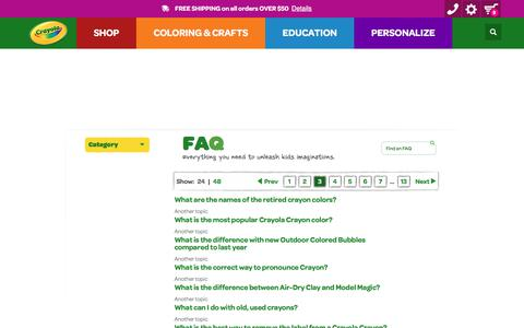 Screenshot of FAQ Page crayola.com - FAQ | crayola.com - captured June 2, 2017