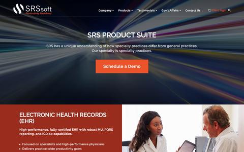 Screenshot of Products Page srssoft.com - EMR Systems & Software - SRS Product Suite - captured April 20, 2016