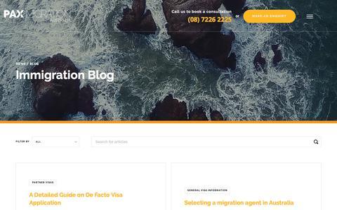 Screenshot of Blog paxmigration.com.au - Immigration Blog - PAX Migration Agents Adelaide - captured Sept. 25, 2018