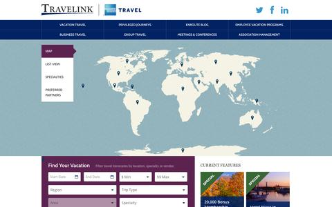 Screenshot of Locations Page travelink.com - Map Your Vacation - captured Nov. 5, 2014