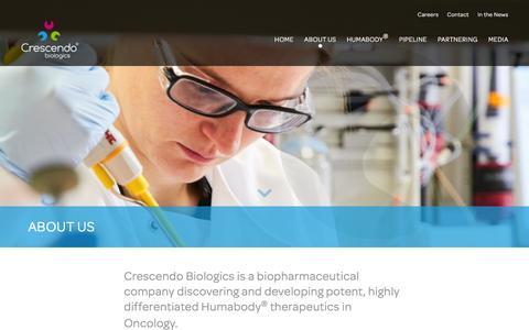 Screenshot of About Page crescendobiologics.com - About Us – Crescendo - captured Nov. 13, 2016
