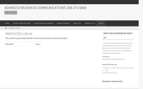 Screenshot of Login Page advanced-business.com - Log In - Advanced Business Communications  208-373-0800 - captured Nov. 20, 2016