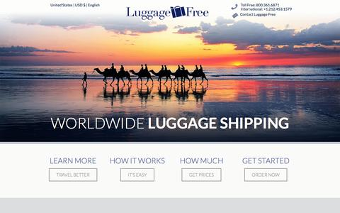 Screenshot of Home Page luggagefree.com - Home - Luggage Shipping - Ship Luggage - Luggage FreeLuggage Shipping – Ship Luggage – Luggage Free - captured Sept. 19, 2014