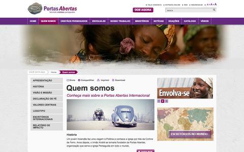 Screenshot of About Page portasabertas.org.br - Quem somos - captured Nov. 5, 2014