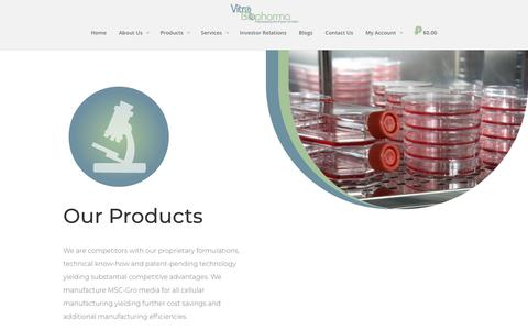 Screenshot of Products Page vitrobiopharma.com - Products - Vitro Biopharma - captured Nov. 7, 2018