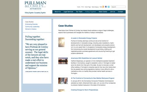 Screenshot of Case Studies Page pullcom.com - Case Studies: Pullman & Comley LLC - captured Oct. 3, 2014