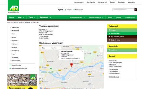 Screenshot of Contact Page agruniekrijnvallei.nl - Wageningen | AgruniekRijnvallei - captured July 29, 2018