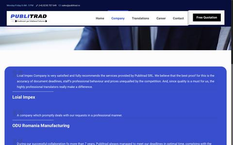 Screenshot of Testimonials Page publitrad.ro - What clients are saying – PUBLITRAD - captured Sept. 26, 2018