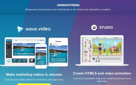 Screenshot of Home Page animatron.com - Marketing video editor and animation maker - captured Jan. 18, 2018