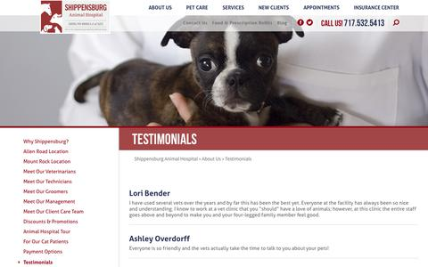Screenshot of Testimonials Page animalsdr.com - Testimonials | Shippensburg Animal Hospital | PA Vet - captured Oct. 24, 2018