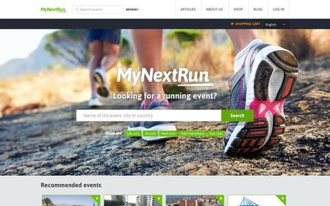 Screenshot of Home Page mynextrun.com - MyNextRun - captured Sept. 16, 2014