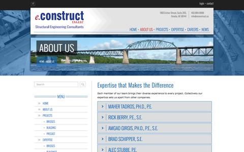 Screenshot of About Page econstruct.us - About Us - eConstruct, USA.LLC - Omaha, NE - captured Nov. 13, 2016
