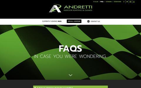 Screenshot of FAQ Page andrettikarting.com - FAQ – Andretti Indoor Karting & Games - captured Oct. 8, 2017