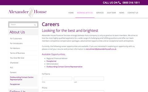 Screenshot of Jobs Page alexanderhousefs.co.uk - Careers   Alexander House Financial Services, United Kingdom - captured Oct. 3, 2018
