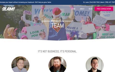 Screenshot of Team Page slamagency.com - Meet the Team at SLAM! Agency | #weareslam - captured Feb. 15, 2019