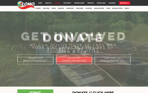 Screenshot of Support Page lomocamps.org - Help Support Our Camps   Donate - captured July 2, 2018