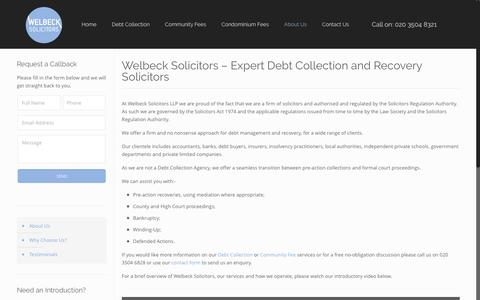 Screenshot of About Page welbecklawllp.co.uk - About Us – Welbeck Solicitors LLP - captured Dec. 21, 2016