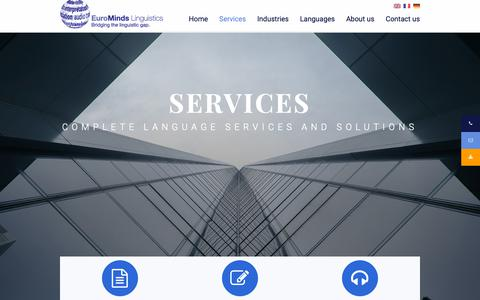 Screenshot of Services Page eurominds-linguistics.com - Language services and solutions | EuroMinds Linguistics - captured Nov. 5, 2018