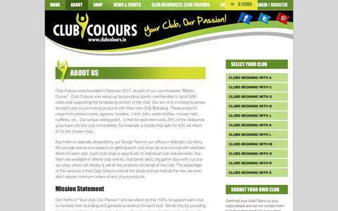 Screenshot of About Page clubcolours.ie - About Club Colours, Description of the Business, Mission Statement | Club Colours - captured Sept. 30, 2014