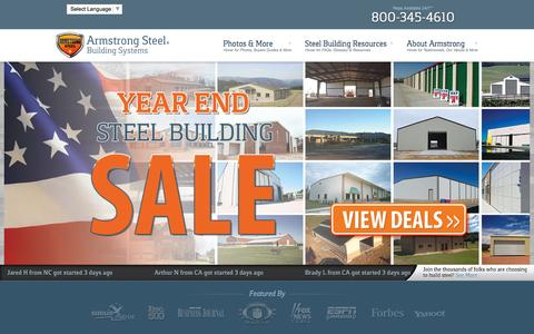 Screenshot of Home Page armstrongsteel.com - Armstrong Steel - Price Your Steel Building Online In Minutes - captured Dec. 26, 2015