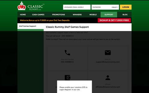Screenshot of Support Page classicrummy.com - Classic Rummy Customer 24x7 Support - Live Chat | Email | Call - captured Sept. 21, 2018