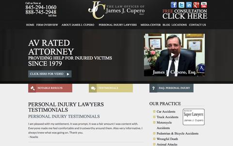 Screenshot of Testimonials Page cuperolaw.com - Personal Injury Client Testimonials | James J. Cupero - captured Nov. 5, 2014