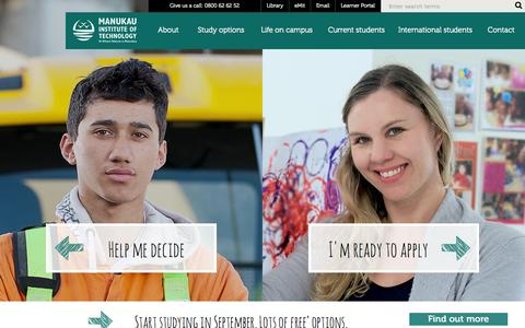 Screenshot of Home Page manukau.ac.nz - Home - Manukau Institute of Technology - captured Sept. 19, 2014