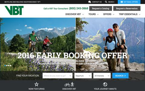 Screenshot of Home Page vbt.com - VBT Bicycling and Walking Vacations - Discover Active Travel - captured Oct. 2, 2015