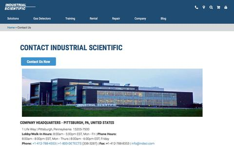 Screenshot of Contact Page indsci.com - Contact Us | Industrial Scientific Corporation | Worldwide Locations - captured Oct. 2, 2019