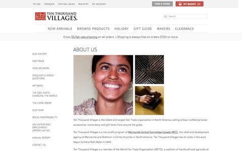 Screenshot of About Page tenthousandvillages.ca - About Us - Ten Thousand Villages - captured Nov. 30, 2016