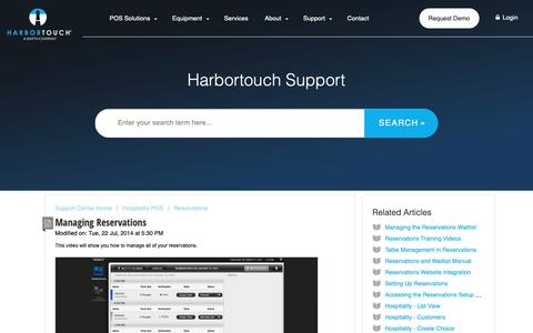 Screenshot of Support Page harbortouch.com - Managing Reservations : Harbortouch Support Center - captured Oct. 9, 2018