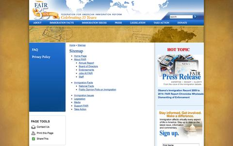Screenshot of Site Map Page fairus.org - Sitemap | Federation for American Immigration Reform - captured Sept. 23, 2014