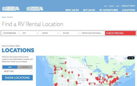 Screenshot of Locations Page cruiseamerica.com - RV Rental Locations - Cruise America - captured Feb. 9, 2019