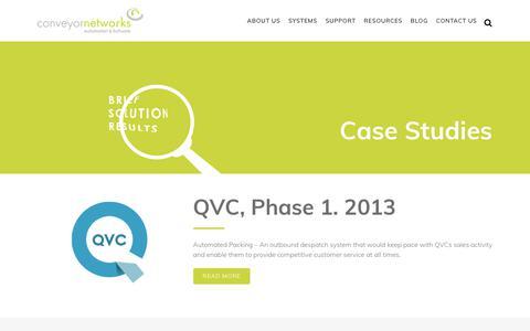 Screenshot of Case Studies Page conveyornetworks.co.uk - Conveyor Networks - Case Studies and Client Information - captured Nov. 11, 2018