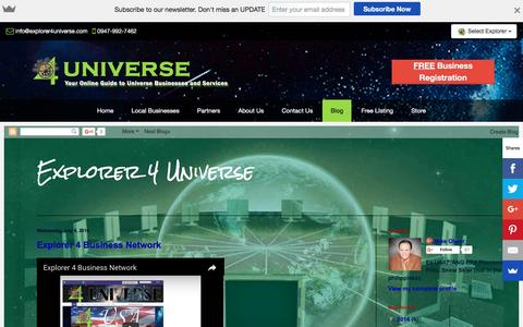 Screenshot of Blog explorer4universe.com - Blog - Explorer 4 Universe - Universe Business Directory - captured Nov. 14, 2016