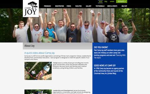 Screenshot of About Page camp-joy.org - Camp Joy - About Joy - captured Sept. 30, 2014