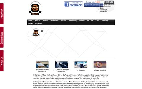 Screenshot of Home Page o-range.in - O-Range Infotech :: A leading Web Technology Company in Allahabad, India with Technology resource Microsoft.NET: Wide range of Web Enabled Services - captured Jan. 25, 2015