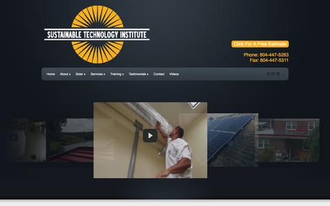 Screenshot of Home Page Menu Page sustainabletechnologyinstitute.com - Sustainable Technology Institute - Richmond VA, Solar Panel Installation and Estimates - captured Oct. 25, 2014