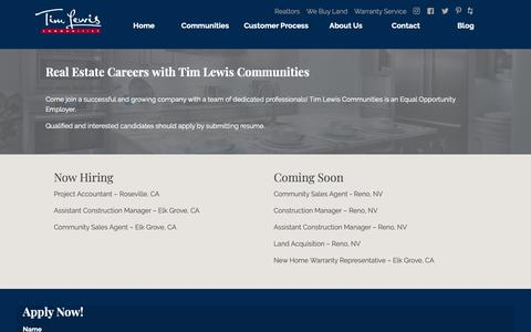 Screenshot of Jobs Page timlewis.com - Real Estate Careers | Tim Lewis Communities - captured Oct. 19, 2018