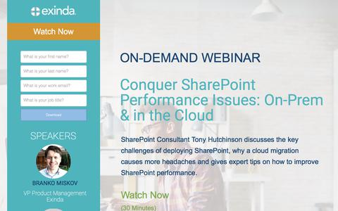 Screenshot of Landing Page exinda.com - Conquer SharePoint Performance Issues: On-Prem & In the Cloud | Exinda - captured June 21, 2017