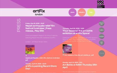 Screenshot of Press Page artfixlondon.com - Press | artFix - captured Dec. 28, 2015