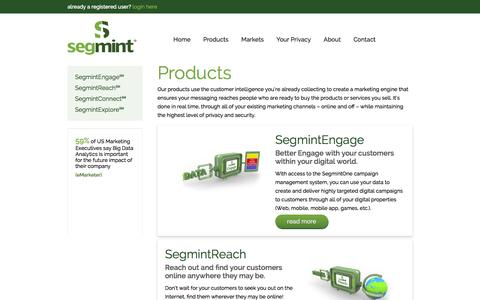 Screenshot of Products Page segmint.com - Segmint - Target Customers w/ Top Marketing Products - captured Oct. 28, 2014