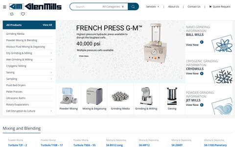 Screenshot of Home Page glenmills.com - Glen Mills Powder Mixing, Milling, and Particle Reduction - captured Jan. 11, 2020