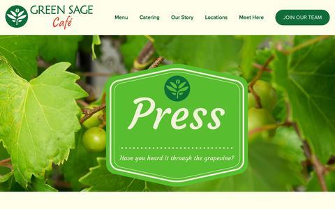 Screenshot of Press Page greensagecafe.com - Our Press — Green Sage Cafe - captured Feb. 15, 2016
