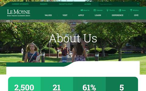 Screenshot of About Page lemoyne.edu - Learn About Le Moyne College - captured Jan. 23, 2016