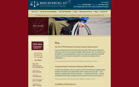 Screenshot of Blog disabilityattorney.net - Florida Social Security Disability Lawyer and Attorney Blog - captured Oct. 18, 2018