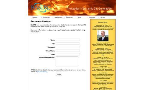 Screenshot of Signup Page rasirc.com - RASIRC Partner Contact Form   RASIRC - captured Dec. 3, 2016
