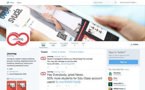 Screenshot of Twitter Page twitter.com - Joomag (@Joomag) | Twitter - captured Oct. 14, 2015